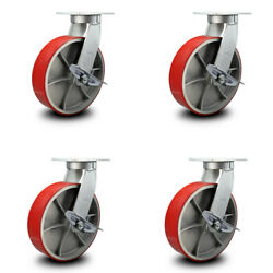 """12"""" Extra Heavy Duty Red Poly On Cast Iron Caster-swivel Casters W/brakes- Set 4"""