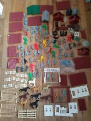 Marx Roy Rogers Double Bar R Ranch And Fort Apache Vintage Playsets Plastic War