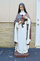 + Old Plaster Statue Of St. Therese Lisieux + 5and039 Ht Cu533 Chalice Co