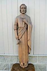 + Older Wood Carved Statue Of St. Joseph + Wall Mounted + 45 3/4 Ht. Cu537