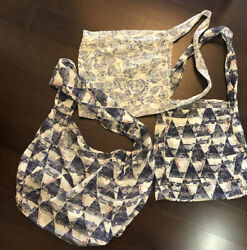 3 Bags Free People Lightweight Fabric Over Shoulder Bag Tote Cloth Purse Boho $16.00