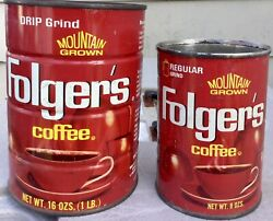 Vintage Original Folgers Coffee Can Tin Lot Of 2 ☕ 8 And 16 Ozs