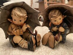 Goebel Umbrella Boy And Girl Figurines 152/0 A And B 1957 - Excellent Condition