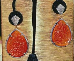 Vintage Carnelian And Authentic Champaign Diamond Drop Earring 18k Gold And Sterling