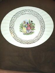 The Crown China Co Minerva Ohio Platter Colonial Couple 22kt Gold 77