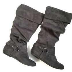 Nine West Swagger Fold Over Casual Comfy Fabric Upper Peter Pan Buckle Boots $14.99