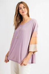 Easel Color Block 3/4 Tiered Sleeve Top