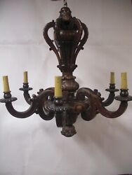 """Lg 30"""" Antique Hand Carved Wood Chandelier Ski Mountain Hunting Cabin Lodge"""
