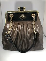Simply Vera Vera Wang Brown Faux Leather Handbag With Gold Tone Chain Straps
