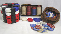 Vintage Lot Poker Chips Horseshoe Paper In Ob Two Types Plastic Chips And Holder