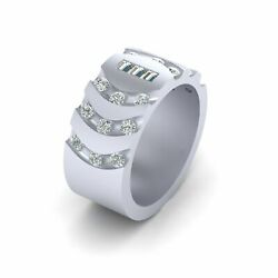 Baguette Diamond 3 Stone Wedding Band For Her 925 Sterling Silver Eternity Band