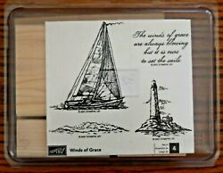 Stampin Up Winds Of Grace Sailing Nautical Ocean Lighthouse Sails Rubber Stamps