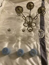 Home Interior Wall Candle Holder Sconce 3 Hurricane Votive Cups And 3 Candles
