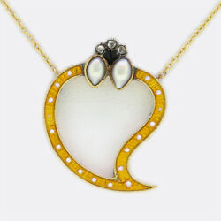 Antique Natural Pearl Diamond And Enamel Heart Necklace 15ct Yellow Gold