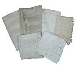 Lot Of 6 Antique And Vintage Crochet Net Lace Tablecloths And Table Runners