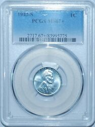 1943 S Pcgs Ms67+ Lincoln Wheat Steel Cent