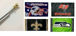 3x5 Large Nfl Sport Team Flags And 6 Foot Spinning Tangle Free Flag Pole With Flag
