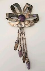 Fine Vintage Mexico 980 Silver Spartling Style Flower Amethyst Brooch Pin Taxco
