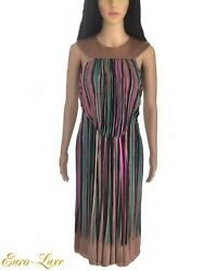 1990's Gianni Versace Couture Tan Leather Multi Color Silk Dress It 46/ 6 8