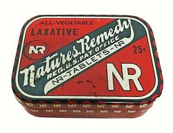 Vintage Nature's Remedy Laxative Tin Red 25 Tablet 1 5/8 X 1 1/4 X 1/2 Inch