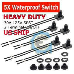 5pcs 12V 4quot; Wire Leads Waterproof On Off Push Button Switch for Motorcycle Car $8.95