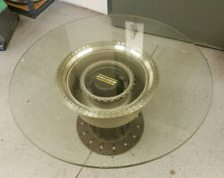 Custom Aircraft Jet Engine Table With 36 Inch Glass Top And Cool Boeing Hub Cap
