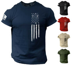 American Flag USA Patriotic T Shirt for Man Militry Veteran Style Shirt $12.90