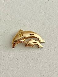 Solid 14k Yellow Gold Swimming Dolphins Pendant, See Other Jewelry, Gold, Coins