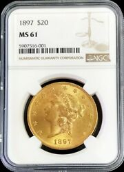 1897 Gold United States 20 Liberty Double Eagle Ngc Mint State 61