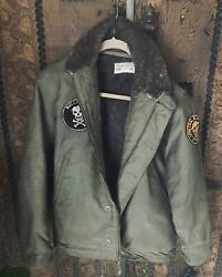 Rare Vintage 1940andrsquos Us Navy N-1 Deck Jacket/w/ Patches Size 42 Outerwear