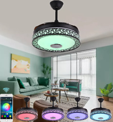 42andrdquo Retractable Bluetooth Ceiling Fan Light Music Player Led Chandelier+remote