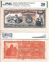 1912 20 Canadian Bank Of Commerce Large Size. Pretty Note. Pmg Vf20 Ch75-14-42