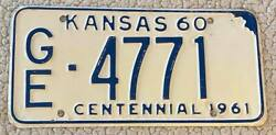Kansas 1960 Geary County Centennial License Plate Nice Quality Ge-4771