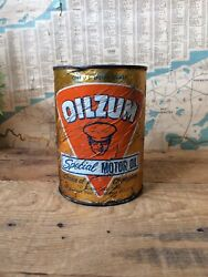 Vintage Motorcycle Garage Oilzum Special Motor Oil One Quart Can Empty