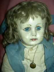Early Alabama Ella Smith Oil Painted Cloth Doll Rare Bare Feet Wigged Some Tlc