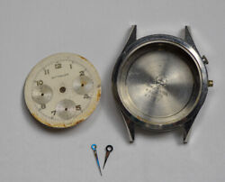 Vintage Wittnauer Valjoux 72 235t Stainless Chronograph Dial Case Hands Parts