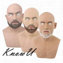 Silicone Handsome Man Headgear Male Cosplay High Simulation With Beard
