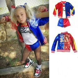 Kids Halloween Cosplay Suicide Squad Harley Quinn Costume Girls Fancy Dress Suit $23.99