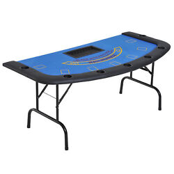 Soozier 72 Folded 7 Player Poker Blackjack Table With Chipandcup Holder - Blue Fe