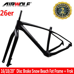 26er Carbon Fat Bike Mtb Frame Snow Beach Bicycle Frame Fit 5.0 Tires 16/18/20