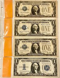 4- Rare U.s. Silver Certificates Including Star Note Please See Other Notes