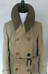 Wwii Mens Jeep Coat Canvas Wool Lined Double Breasted With Belt Military