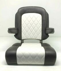Taco Metals / 23 Captive Helm Chair Captains Seat Dark Brown / Off White