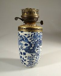 Chinese Ming Blue And White Porcelain Vase Antique Lamp