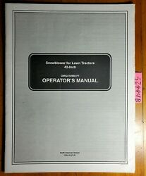 John Deere 42 Snowblower S/n 10001- For Lawn Tractor Ownerand039s Operatorand039s Manual