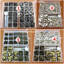 10kinds 200sets Poppers Snap Fasteners Press Studs Button Leather Craft Tool