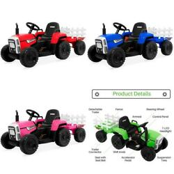 Kids Electric Tractor Ride On Toy With Dirt Tires, Remote Control, Trailer 12v