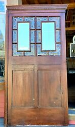 Large Victorian Walnut Panel W Stained Glass And Beveled Mirrors