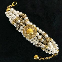 Gianni Versace Medusa Pearl Bracelet With Crystal Beads Made In Italy