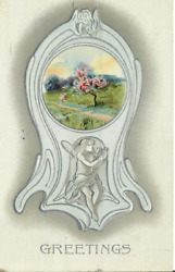 Antique Art Nouveau Greetings 1913 Posted Divided Back Embossed Postcard